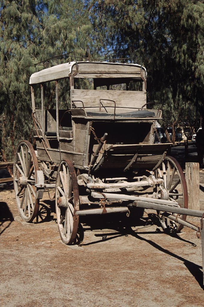 Stock Photo: 4290-6482 Old antique stagecoach, Amargosa, Death Valley Junction, Inyo County, California, USA