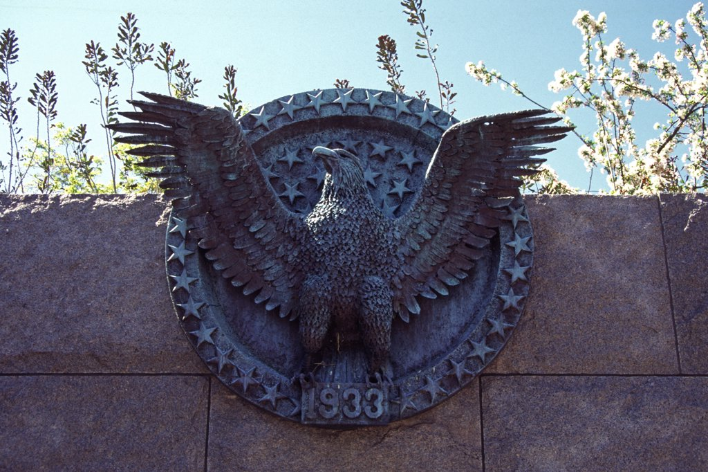 Franklin Delano Roosevelt Memorial, sculpture of an eagle, West Potomac Park, Washington, DC, USA : Stock Photo