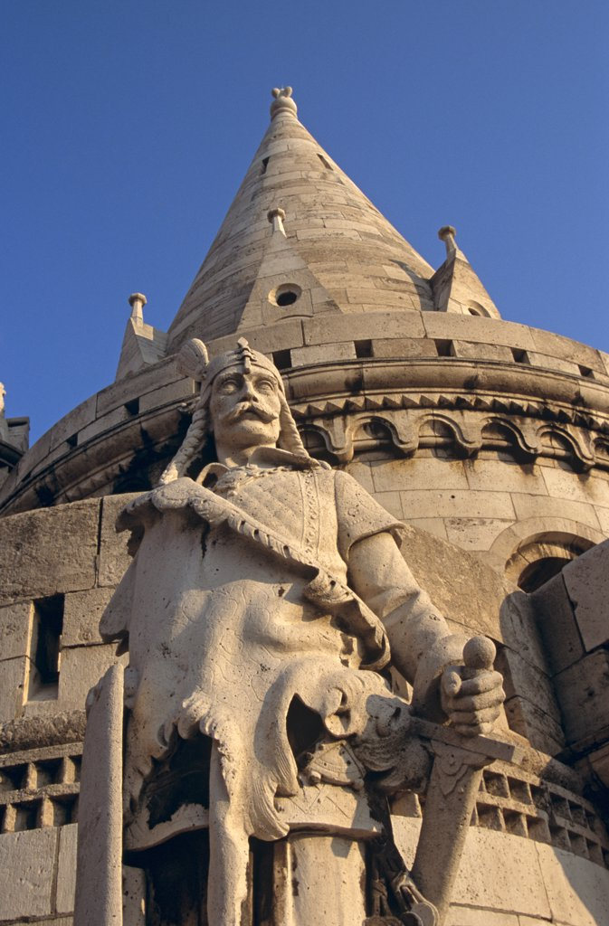 Stock Photo: 4290-6666 Fishermen's Bastion, Saint Stephen's (Szent Istvan) statue, Trinity Square, Castle Hill District, Budapest, Hungary