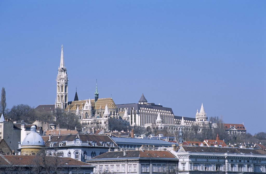 View of Matyas Church, Hilton Hotel and Fishermen's Bastion, Castle Hill District, Budapest, Hungary : Stock Photo