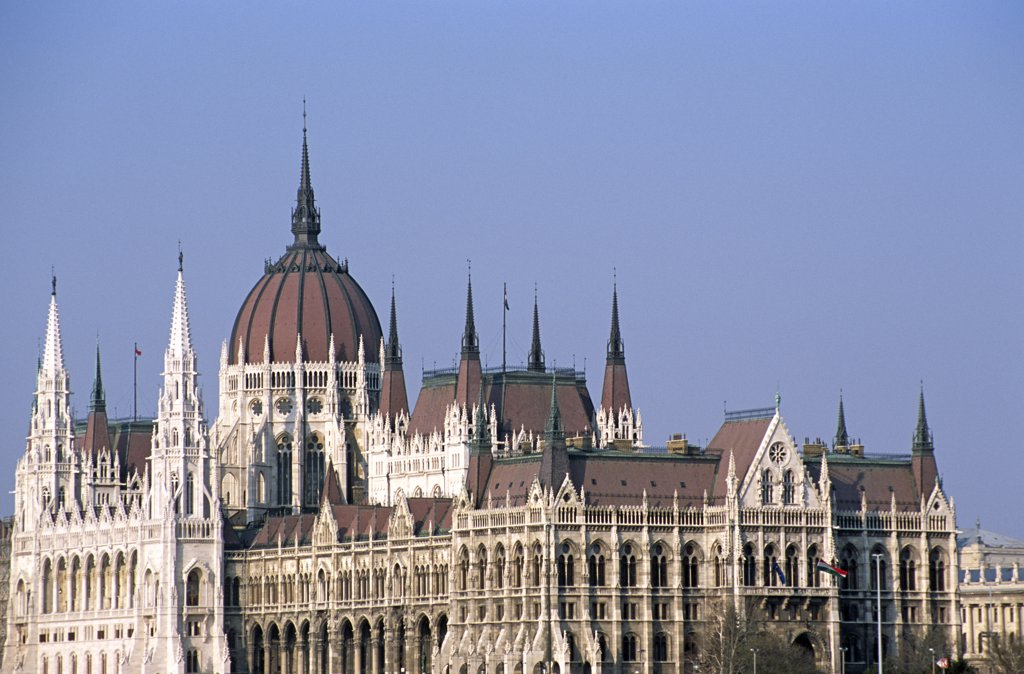 Parliament building from across the River Danube, Budapest, Hungary : Stock Photo