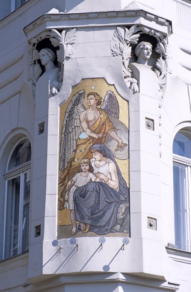 Stock Photo: 4290-6790 Mosaic on wall of Merkantil Bank, Jozsef Attila Utca, Budapest, Hungary