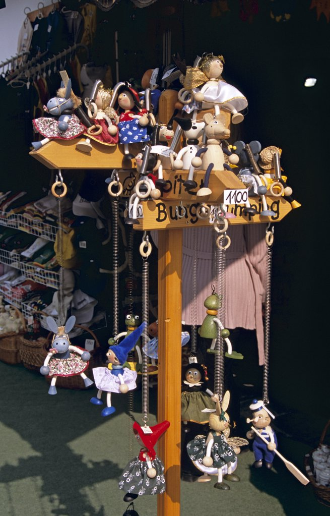 Stock Photo: 4290-6835 Childrens' toy display outside gift shop, Szentendre, Hungary