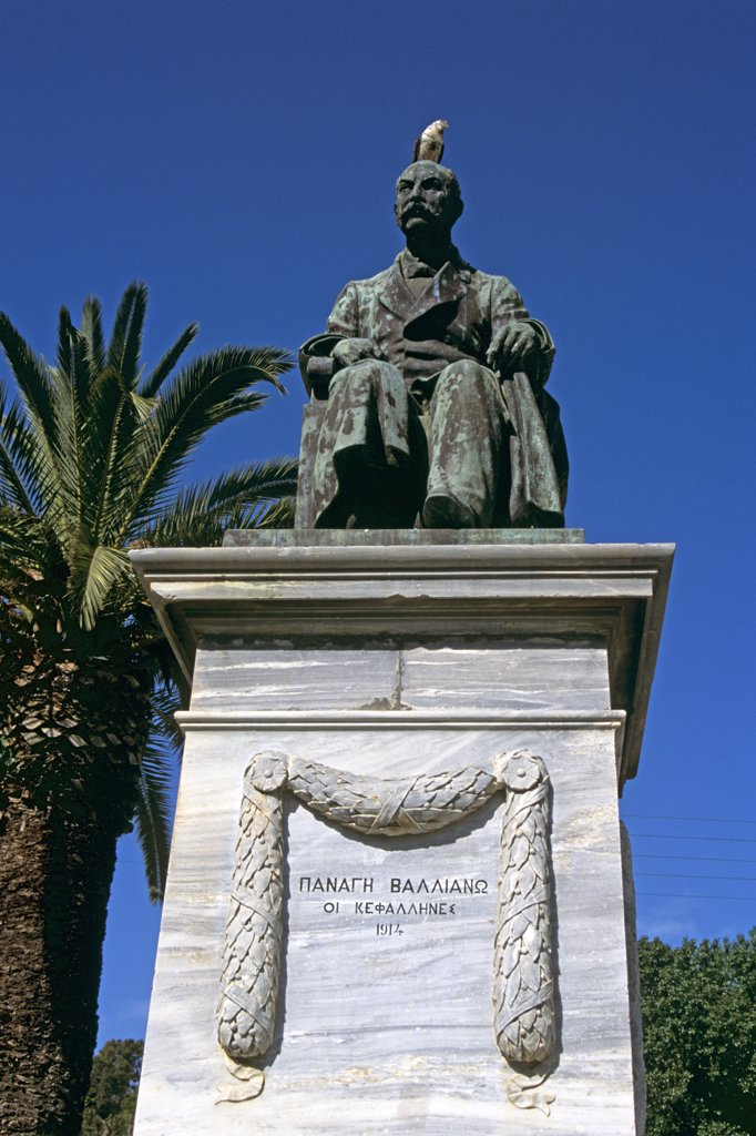 Stock Photo: 4290-6860 Statue of Panagis Vallianou in the town square, Platia Vallianou, Argostoli, Kefalonia, Greece