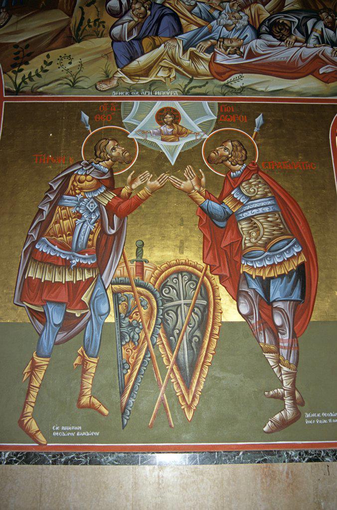 Stock Photo: 4290-6900 Saint Gerassimos Monastery, interior painting, Kefalonia, Greece