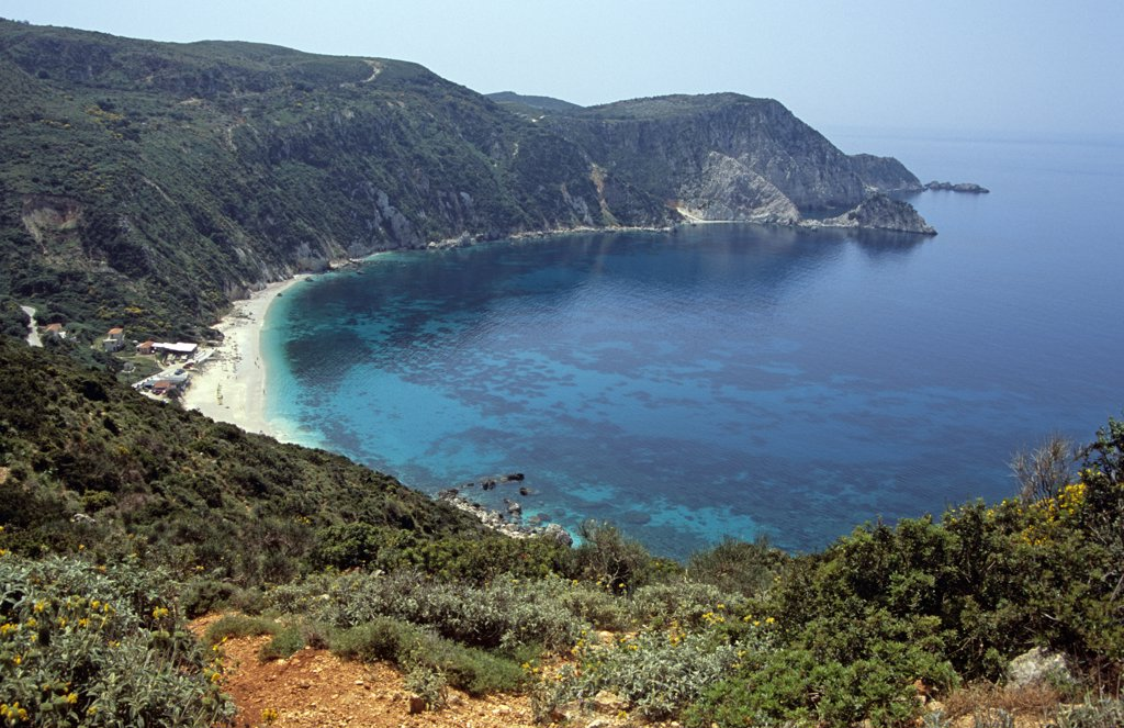 Petani Bay from cliff top, Petani, Kefalonia, Greece : Stock Photo