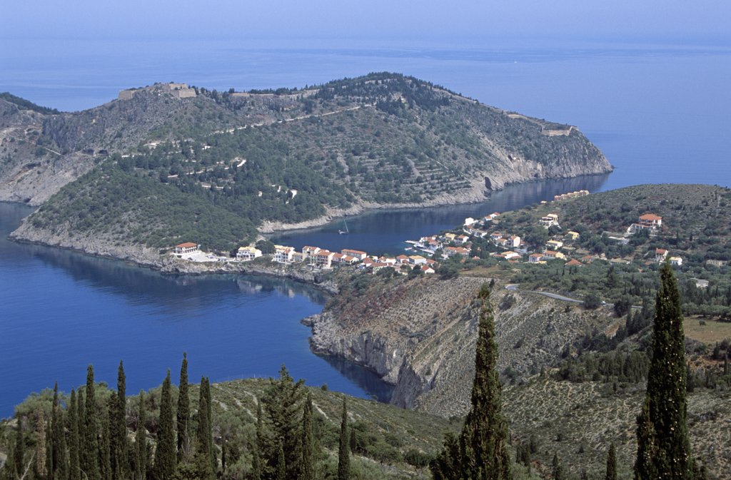 Stock Photo: 4290-6969 Looking down onto Assos peninsula from cliff top, Kefalonia, Greece