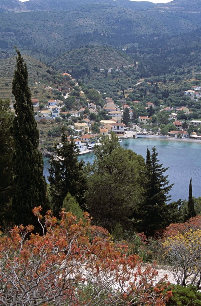 Looking down onto Assos from cliff top, Kefalonia, Greece : Stock Photo