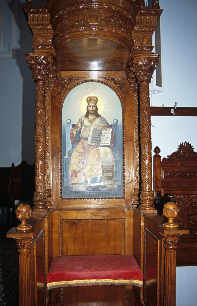 Stock Photo: 4290-7005 Sotiris Church, carved wooden ornate chair incorporating a painting, Stavros, Ithaca, Greece