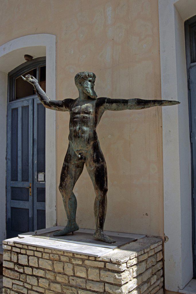 Stock Photo: 4290-7039 Statue of Poseidon, Vathi, Ithaca, Greece
