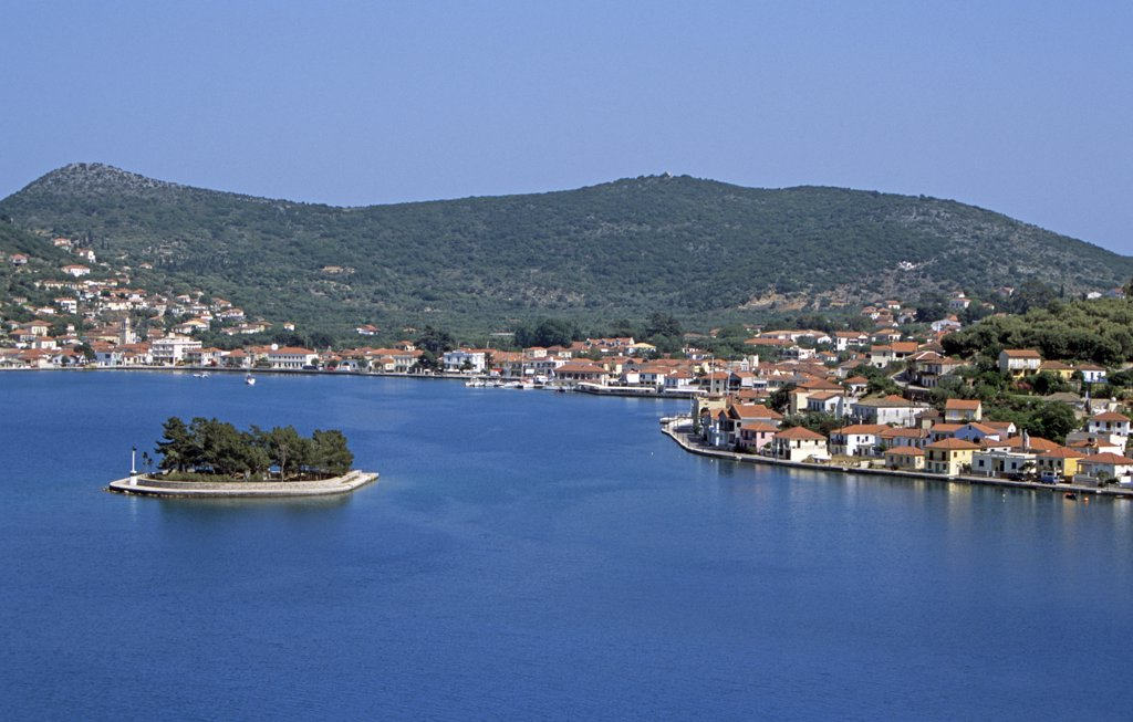 Stock Photo: 4290-7042 Lazareto island and Vathi town behind, Vathi, Ithaca, Greece