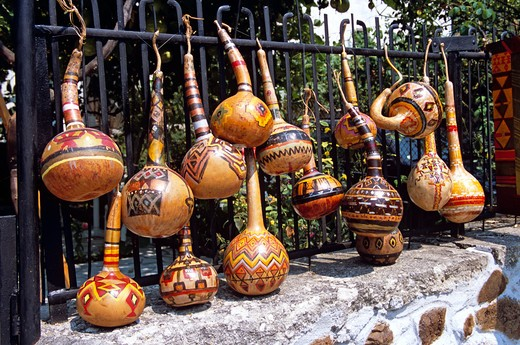 Stock Photo: 4290-7266 Colourful gourds outside art and folk shop, Melnik, Bulgaria