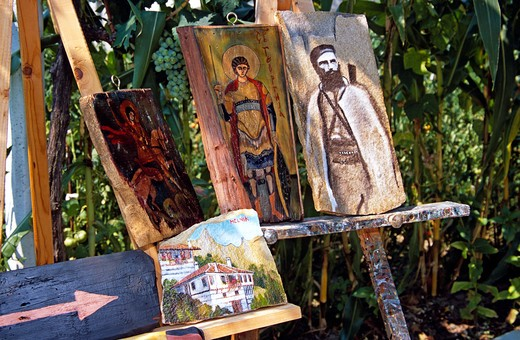 Stock Photo: 4290-7267 Paintings on stone and wood, Melnik, Bulgaria