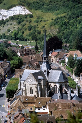 Saint Sauveur Church, Petit Andely, Les Andelys, Normandy, France, from Chateau Gaillard : Stock Photo