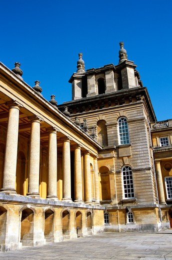 Stock Photo: 4290-7475 Blenheim Palace, Woodstock, near Oxford, Oxfordshire, England. Wing of Palace in courtyard near main entrance.