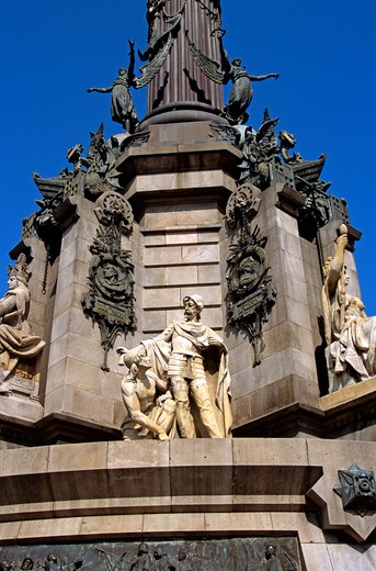 Stock Photo: 4290-7567 Monument a Colom, Christopher Columbus Monument, statues on monument, La Rambla, Barcelona, Spain