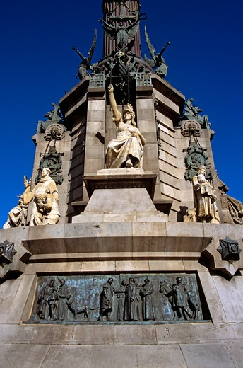 Stock Photo: 4290-7569 Monument a Colom, Christopher Columbus Monument, relief at base of monument and statues, La Rambla, Barcelona, Spain
