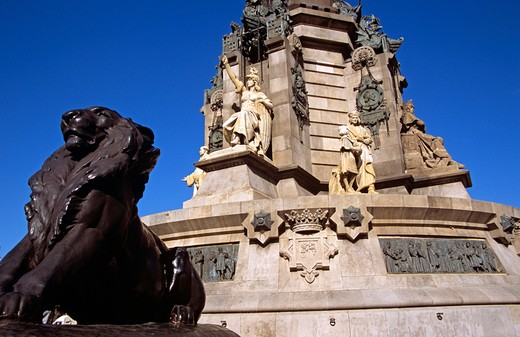 Stock Photo: 4290-7570 Monument a Colom, Christopher Columbus Monument, lion and statue detail, La Rambla, Barcelona, Spain