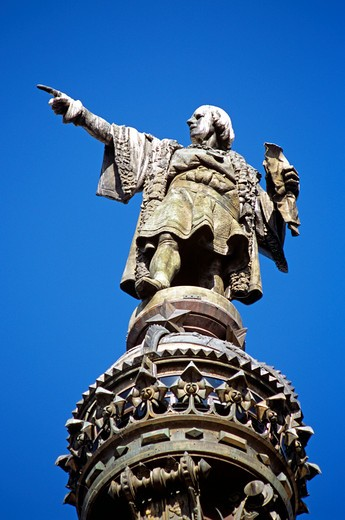 Stock Photo: 4290-7573 Monument a Colom, Christopher Columbus Monument, Christopher Columbus statue detail, La Rambla, Barcelona, Spain
