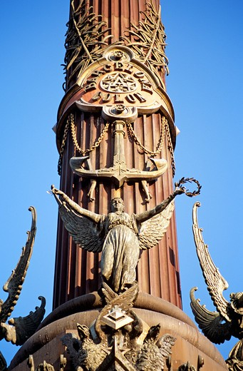 Stock Photo: 4290-7575 Monument a Colom, Christopher Columbus Monument, column detail, La Rambla, Barcelona, Spain