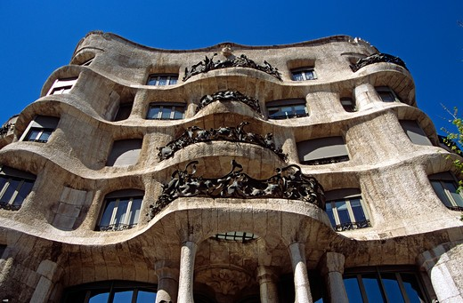 Stock Photo: 4290-7638 La Pedrera, Casa Mila, Barcelona, Spain.