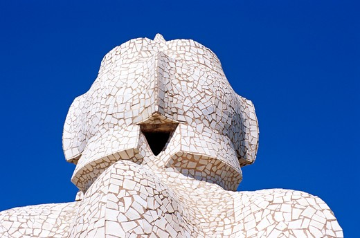 Roof sculpture, La Pedrera, Casa Mila, Barcelona, Spain. : Stock Photo