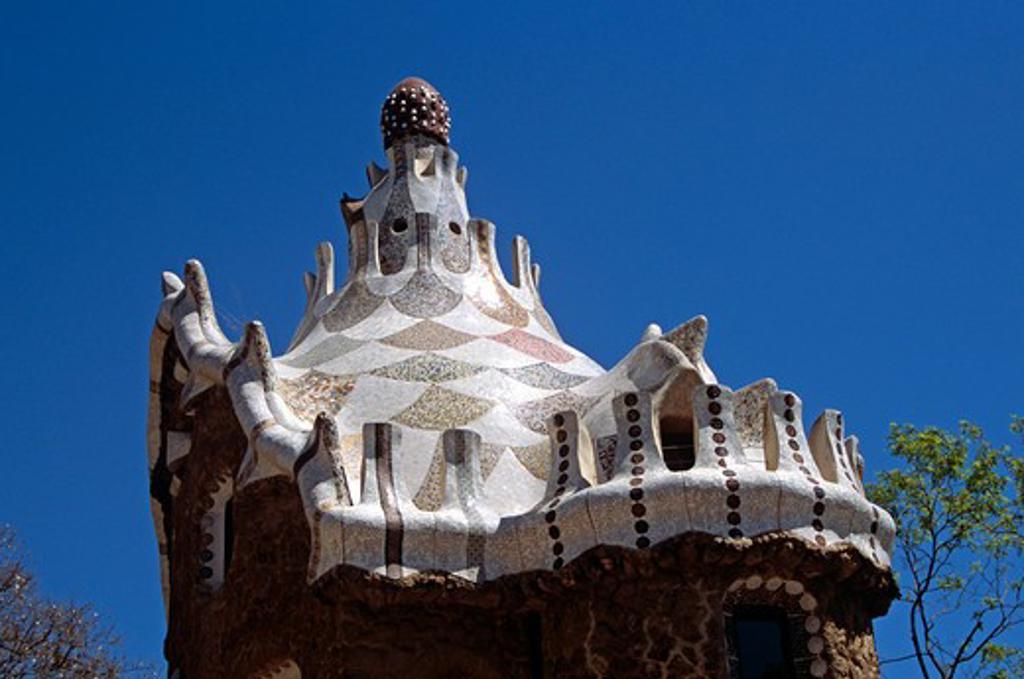 Stock Photo: 4290-7694 Ornate ceramic roof, inside entrance, Guell Park, Barcelona, Spain