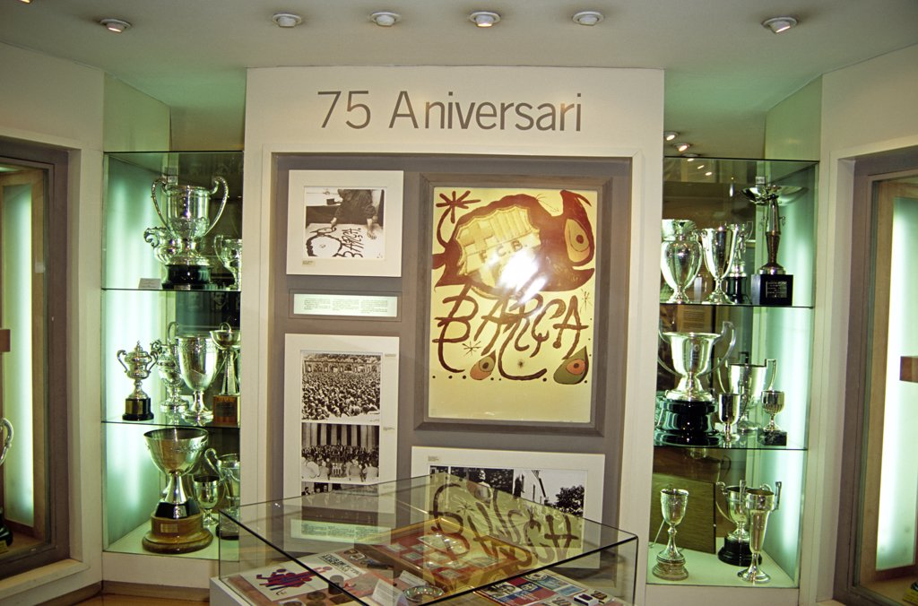 Trophy room in museum in the Nou Camp Stadium, Barcelona Football Club, Barcelona, Spain : Stock Photo