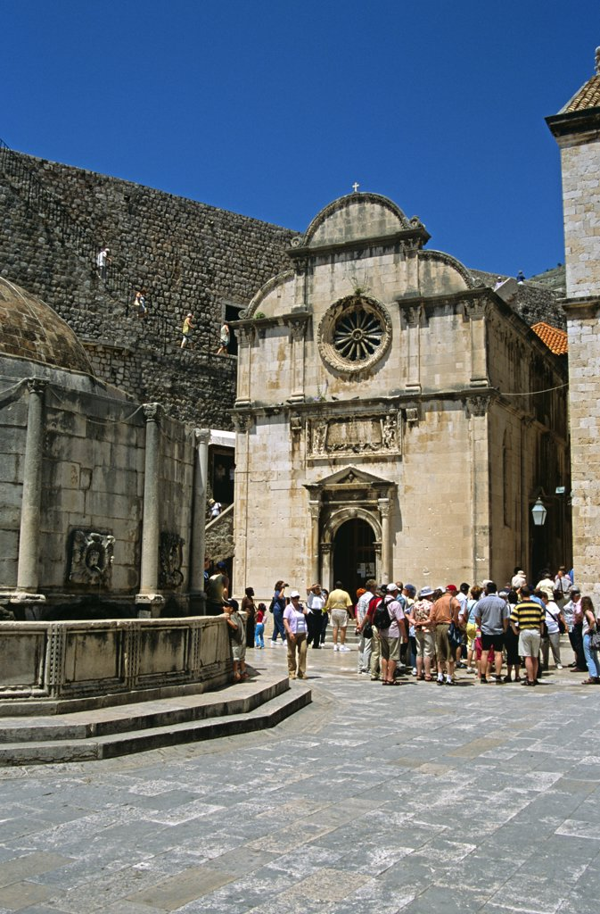 Stock Photo: 4290-8077 Saint Saviour's Church (Crkva Sveti Spas) and Onofrio's large fountain, Stradun, Dubrovnik, Dalmatian Coast, Croatia, Former Yugoslavia