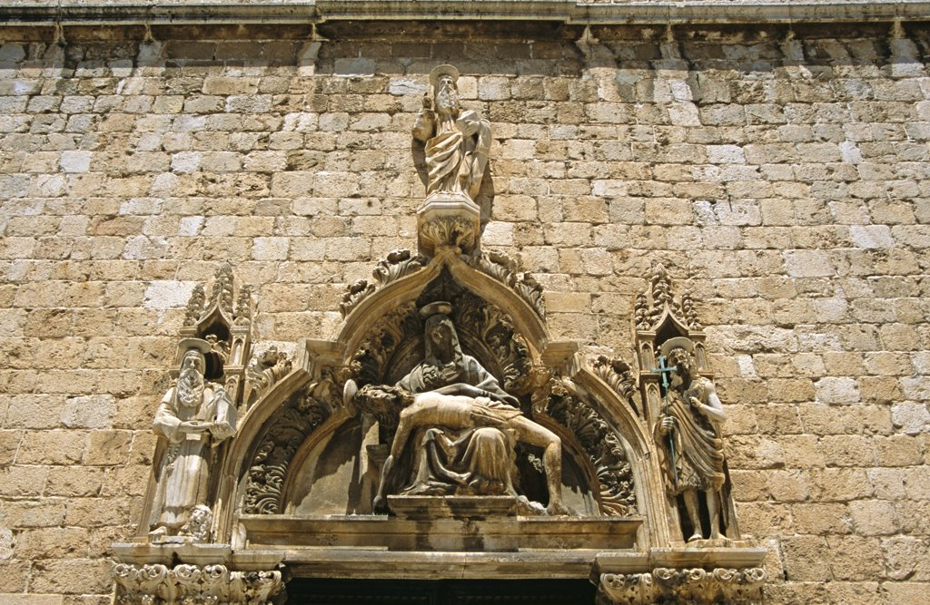 Franciscan Monastery. Close up of Pieta and the Saints (by the Petrovic brothers), Stradun, Dubrovnik, Dalmatian Coast, Croatia, Former Yugoslavia : Stock Photo
