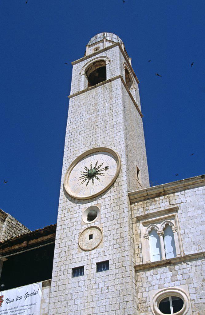 Stock Photo: 4290-8092 Bell tower (Gradski Zvonik), Luza Square, Stradun, Dubrovnik, Dalmatian Coast, Croatia, Former Yugoslavia