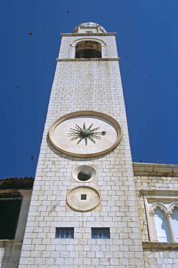 Stock Photo: 4290-8093 Bell tower (Gradski Zvonik), Luza Square, Stradun, Dubrovnik, Dalmatian Coast, Croatia, Former Yugoslavia