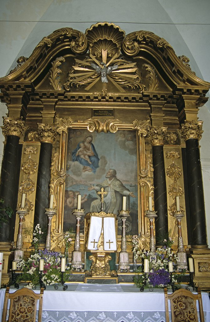 Stock Photo: 4290-8132 Saint Nicholas Church, Cavtat, near Dubrovnik, Dalmatian Coast, Croatia. Painting, candlesticks and altar.