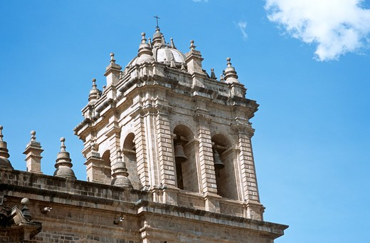 Stock Photo: 4290-8422 Cathedral bell tower, part of three church complex including El Triunfo and Iglesia Jesus y Maria, Plaza de Armas, Cusco, Peru