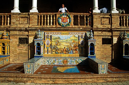 Stock Photo: 4290-8481 Tiled panel on a wall in Plaza de Espana, Seville, Spain