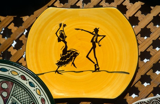 Stock Photo: 4290-8619 Plate depicting flamenco dancers on display outside a gift shop, Cordoba, Spain