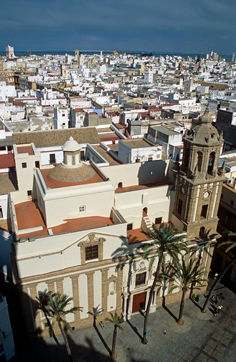 Santiago Church and a view of Cadiz city from Cadiz Cathedral, Plaza de la Catedral, Cadiz, Spain : Stock Photo