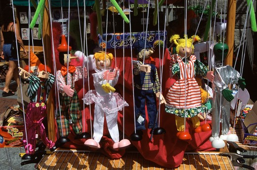 Stock Photo: 4290-8759 Puppets for sale on stall, Quincy Market, Boston, Massachusetts, New England, USA.