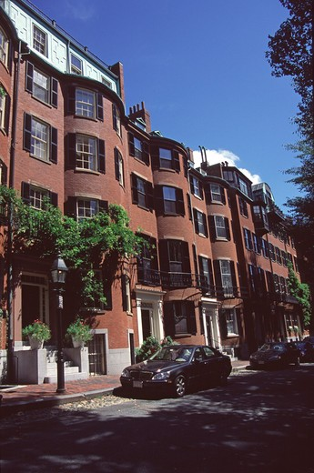 Stock Photo: 4290-8799 Red brick buildings, Beacon Hill area, Boston, Massachusetts, New England, USA