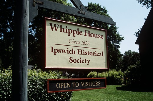 Stock Photo: 4290-8850 John Whipple House sign, house built circa 1655, Ipswich, Massachusetts, New England, USA