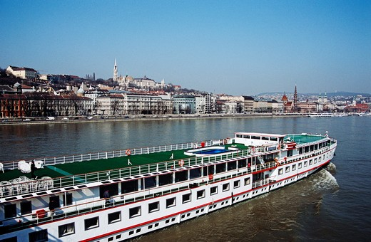 View across River Danube, Matyas Church, Hilton Hotel and Fishermen's Bastion, Castle Hill District, Budapest, Hungary : Stock Photo