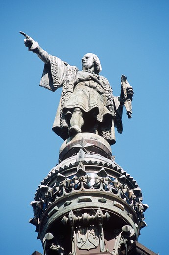 Stock Photo: 4290-9015 Monument a Colom, Christopher Columbus Monument, Christopher Columbus statue detail, La Rambla, Barcelona, Spain