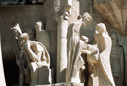 Exterior statue detail, La Sagrada Familia, Barcelona, Spain : Stock Photo