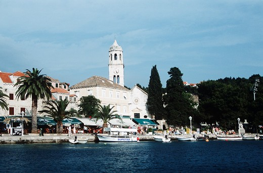Saint Nicholas Church and quayside, Cavtat, near Dubrovnik, Dalmatian Coast, Croatia, Former Yugoslavia : Stock Photo