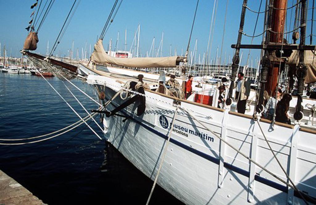 Museu Maritim, Maritime Museum, yacht, Port Vell, Barcelona, Spain : Stock Photo