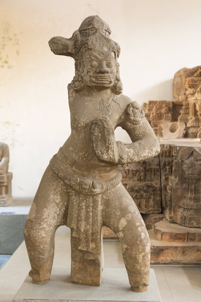 Stock Photo: 4290-9065 Vietnam, Danang, Danang Museum of Cham Sculpture, Stone statue of Dvarapala guarding gateway