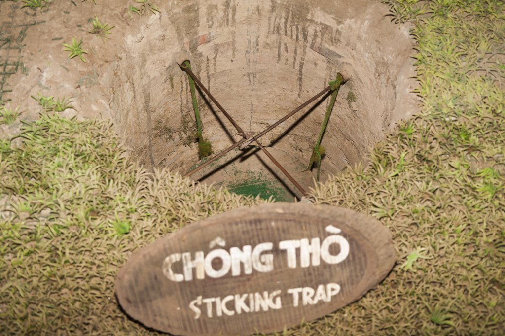 Stock Photo: 4290-9177 Vietnam, (Saigon), Ben Dinh, Cu Chi, near Ho Chi Minh City, sticking booby trap