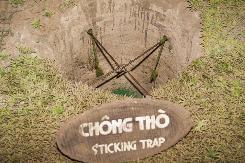 Vietnam, (Saigon), Ben Dinh, Cu Chi, near Ho Chi Minh City, sticking booby trap : Stock Photo