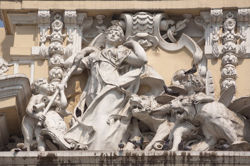 Stock Photo: 4290-9387 Vietnam, Ho Chi Minh City, Saigon, Carved statues on People's Committee Building, formerly Hotel de Ville,