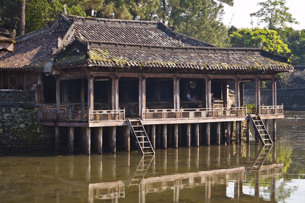 Vietnam, Xung Khiem Pavilion beside Luu Khiem Lake at tomb of Emperor Tu Duc : Stock Photo